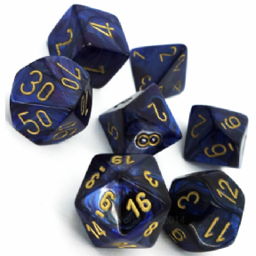 Blue & Gold Scarab Polyhedral 7 Dice Set